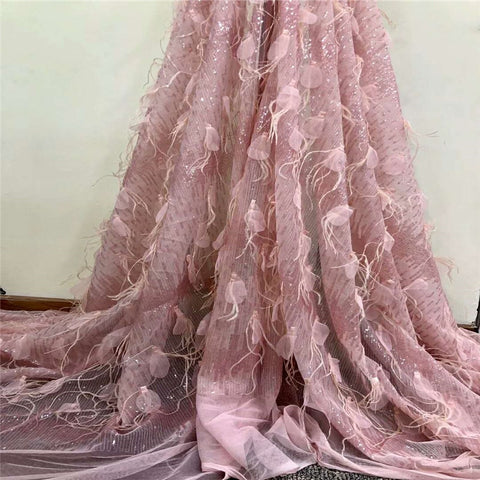 Image of 2018  Excellent  quality  French Tulle Lace Fabric  with sequin and feathers Latest 3D  Mesh Lace Fabric for dress  HX785-2
