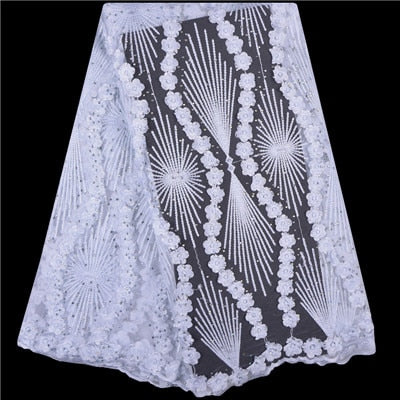 2018 French Lace Fabric White Wedding High Quality African Tulle Lace Fabric 5Yard 3D Flowers Embroidered Tulle Lace fabric A999