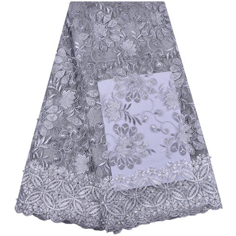 Image of 2018 High Quality African Lace Fabric Pure White French Net Embroidery Tulle Lace Fabric For Nigerian Wedding Party Dress A1338