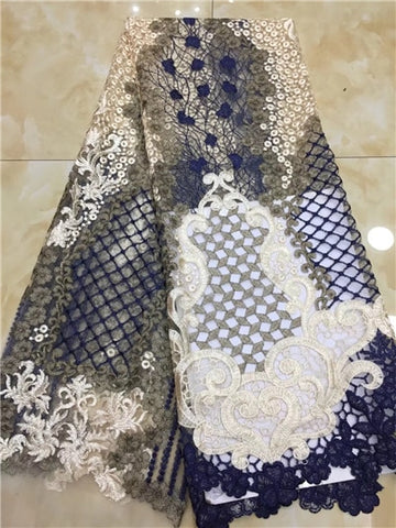 Image of 2018 High Quality Nigerian Lace Fabrics African French Net Lace Fabric Embroidered Tulle Mesh Lace Fabric