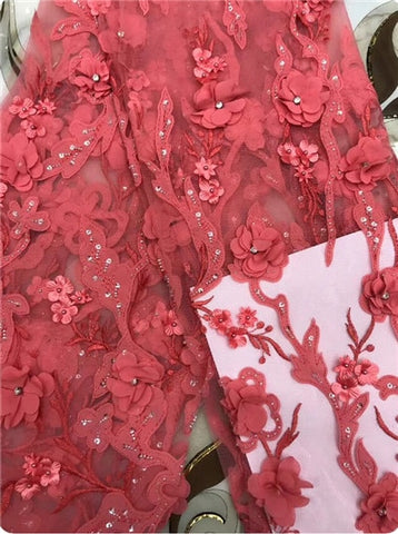 Image of 2018 Hot Sale pink Embroidered African Lace Fabric High Quality With Beaded French Net Lace Guipure Lace Fabrics