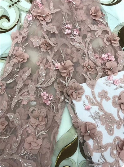 2018 Hot Sale pink Embroidered African Lace Fabric High Quality With Beaded French Net Lace Guipure Lace Fabrics