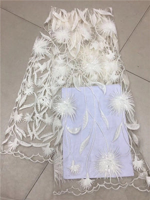 2018 Hot Sell French White Sequins lace fabric,High Quality African Sequins Tulle Mesh Net 3d Lace /guipure Swiss lace Fabric