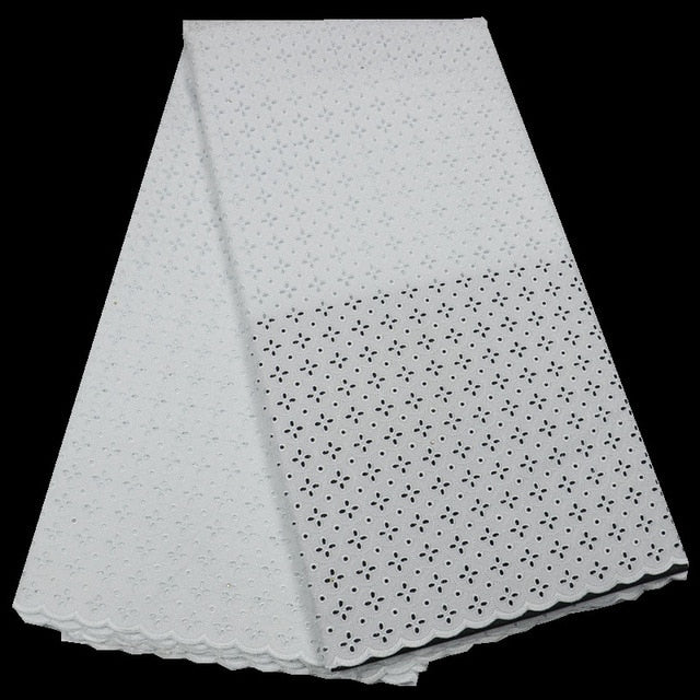 2018 Hot sale plain white polish cotton lace for men African swiss lace fabric High quality QE265