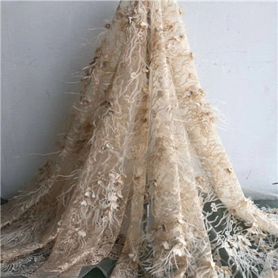 Image of 2018  Latest African 3D Flowers  Lace Fabric with  high quality Pretty  French  mesh Lace Embroidery lace Fabric   HX58-1