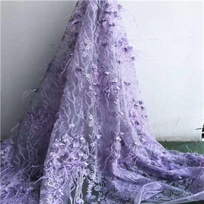 2018  Latest African 3D Flowers  Lace Fabric with  high quality Pretty  French  mesh Lace Embroidery lace Fabric   HX58-1
