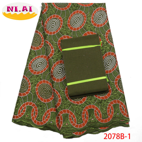 Image of 2018 Latest African Cotton Lace Fabric With Aso Oke High Quality Swiss Voile Lace Fabric For Nigerian Party Dress NA2078B-1