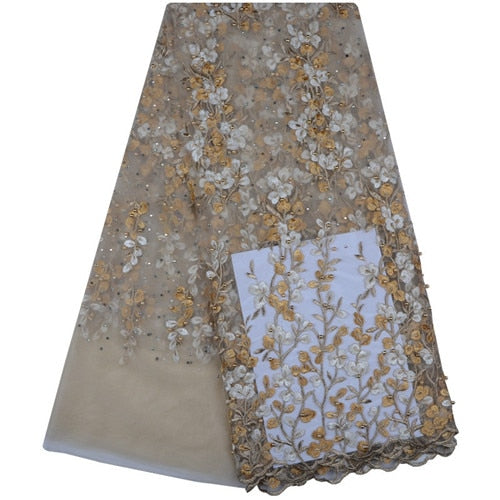 2018 Latest French Nigerian Laces Fabrics High Quality Tulle African Laces Fabric Wedding African French Beaded Tulle Lace 1103