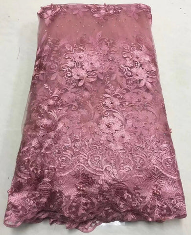 Image of 2018 Latest French Nigerian Laces Fabrics High Quality Tulle African Laces Fabric Wedding African French Tulle Lace ALC-Z011