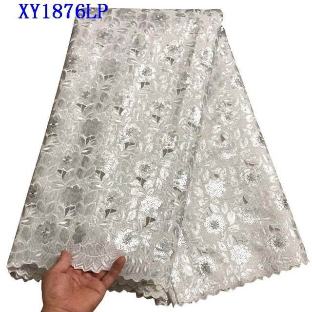 2018 Latest Nigerian Lace Fabric Sequins Embroidery Organza Lace Hand cut High Quality African Organza Lace Fabric TYR006