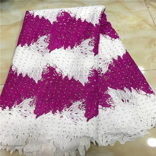 2018 New Design African Lace Fabric Guipure Lace White French Net Laces Fabric With Stones High Quality African Swiss Voile Lace