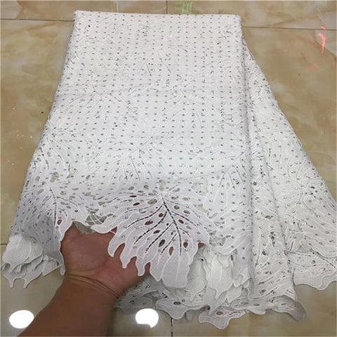 Image of 2018 New Design African Lace Fabric Guipure Lace White French Net Laces Fabric With Stones High Quality African Swiss Voile Lace