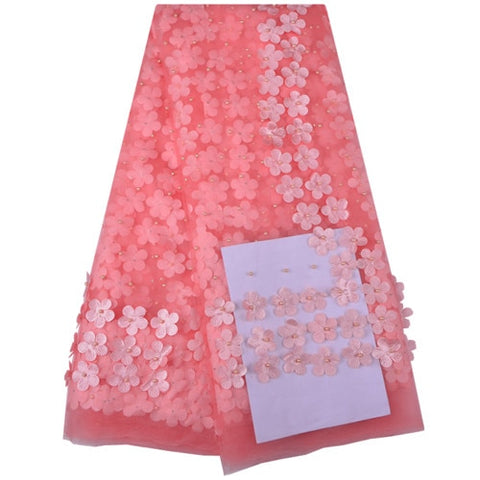 2018 New Style French Net Lace Fabric 3D Flower African Tulle Mesh Lace Fabric High Quality African Lace Fabric With Pearls 1215