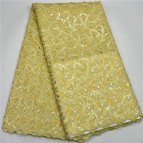 2018 New hand-cut African Lace Fabric African Swiss Lace Fabric Rich sequins and stones 5 yards / much