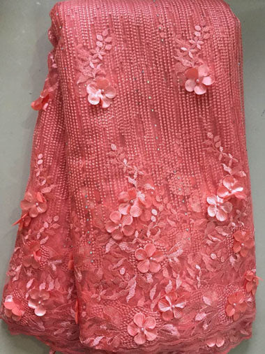 2018 New style French net lace fabric 3D flower African tulle mesh lace fabric high quality nigerian lace fabrics FLL3335 PEACH