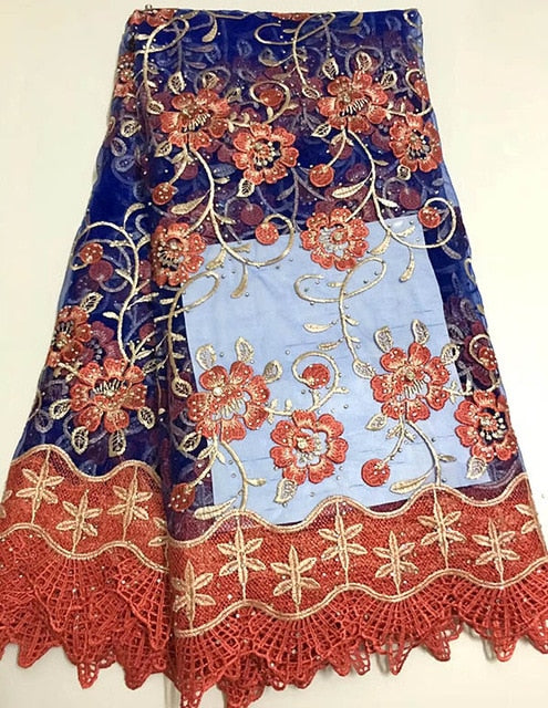 2018 Newest Styles Peach Embroidery African Guipure Lace Fabric High Quality French Mesh lace fabric with beads