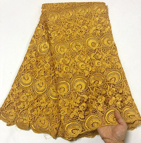 Image of 2018 Newest style Gold color African water soluble Lace Fabric High Quality Cord Lace Fabric Embroidery Fabric For party dress