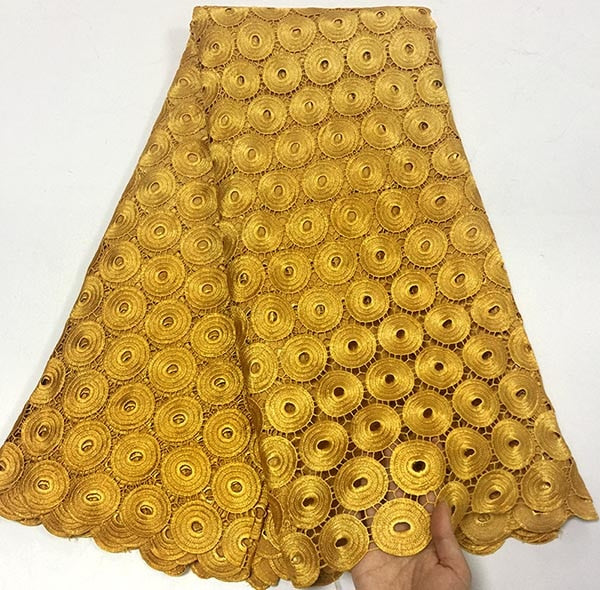 2018 Newest style Gold color African water soluble Lace Fabric High Quality Cord Lace Fabric Embroidery Fabric For party dress