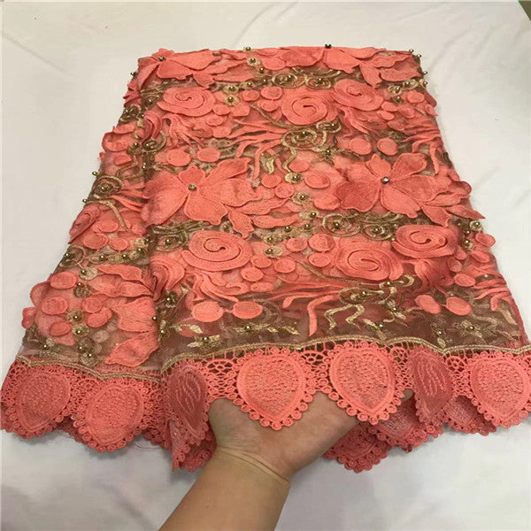 2018 Nigerian Lace Latest African Lace 2018 Bridal Lace Fabric Red color African High Quality Rhinestones Lace Fabric 5Yards/Lot
