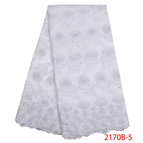 2018 high quality cotton lace fabric with stones for party dress new arrivals swiss voile lace in switzerland  NA2170B-2