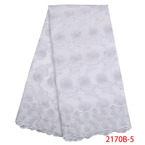 Image of 2018 high quality cotton lace fabric with stones for party dress new arrivals swiss voile lace in switzerland  NA2170B-2