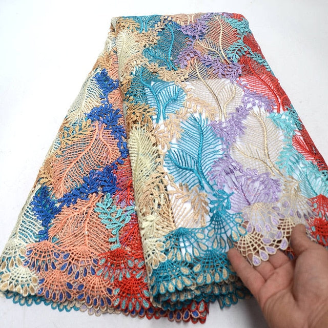2018 latest african guipure lace colorful water soluble chemical lace fabric,high quality african cord lace with beads QG580