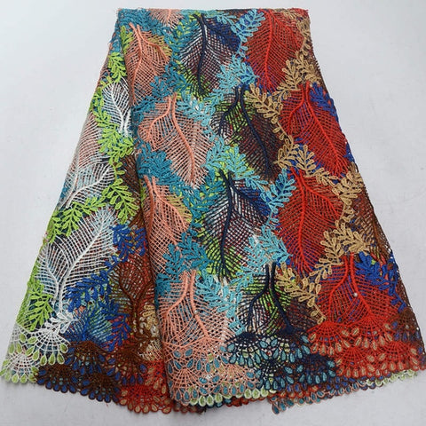 Image of 2018 latest african guipure lace colorful water soluble chemical lace fabric,high quality african cord lace with beads QG580