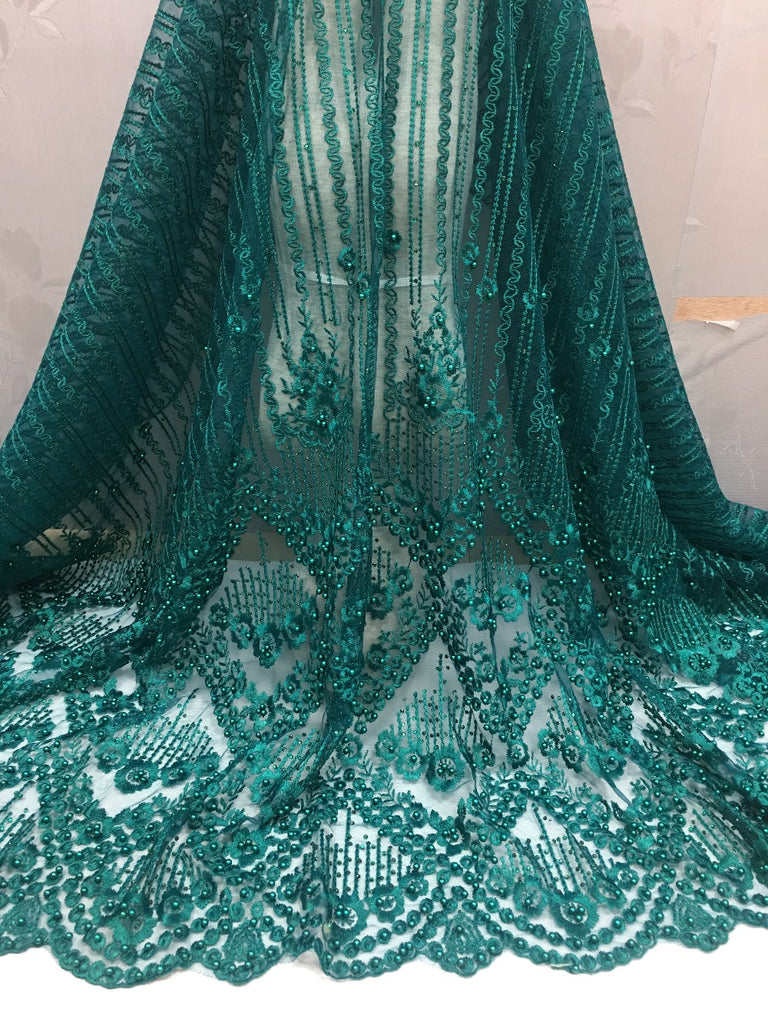 2018 new arrival Green color African Lace fabric.High Quality French tulle Lace with beads for party dress.free shipping 5yards