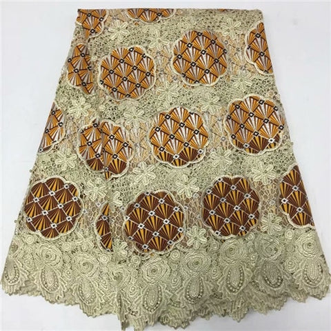 Image of 2018 new water soluble lace fabric with wax cloth design high quality african guipure lace fabric for clothes sewing f16m312