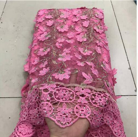 Image of 2018 pink Latest French Nigerian Laces Fabrics with beaded  stones Tulle African Laces Fabric Wedding African French Tulle Lace