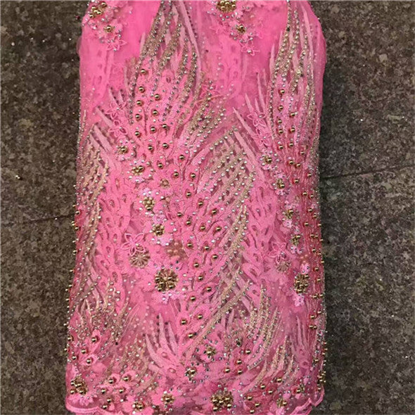 2018 pink Latest French Nigerian Laces Fabrics with beaded  stones Tulle African Laces Fabric Wedding African French Tulle Lace