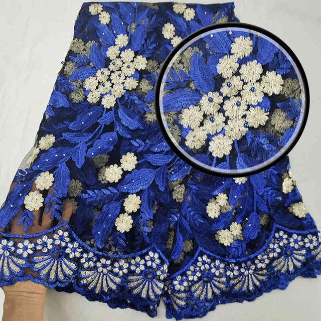 2018Latest Mesh Nigerian Laces Fabric With Stones and beads High Quality Tulle African Lace Fabric For Wedding MJKY2949a