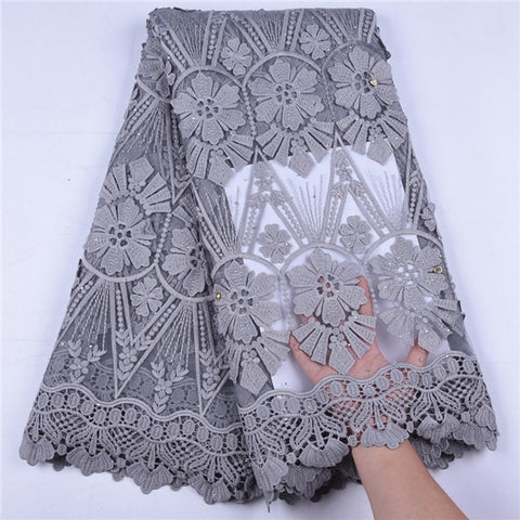 Image of 2019 3D Applique Design French African Mesh Lace Fabric High Quality Nigerian Lace Fabric Milk Silk Lace For Wedding Dress A1669