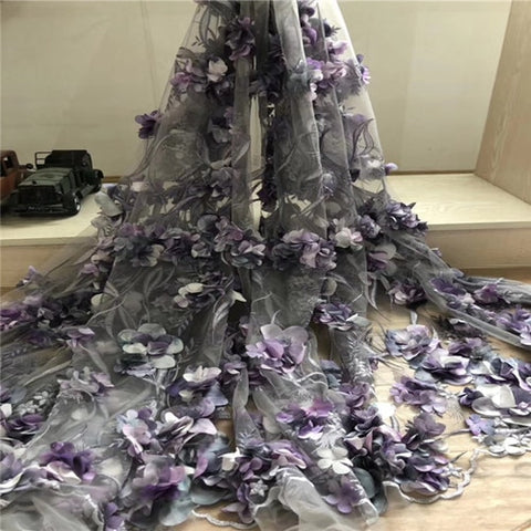Image of 2019 3D Flowers French Nigerian Laces Fabrics High Quality Tulle African Laces Fabric Wedding African French Tulle Lace MM85a