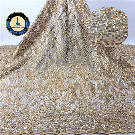 Image of 2019 Africa Lace Fabric French Embroidery With A lot of Sequins   High Quality Nigeria Tulle Mesh Fabric Used for Wedding dress