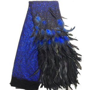 2019 Africa tulle Lace Fabric With High Quality Feather design New Nigeria tulle lace Fabric For women's party dresses