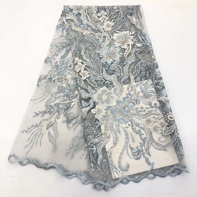 2019 African Lace Fabric New Nigeria Lace design embroidery with High Quality sequins Fabric Used for women wedding dresses