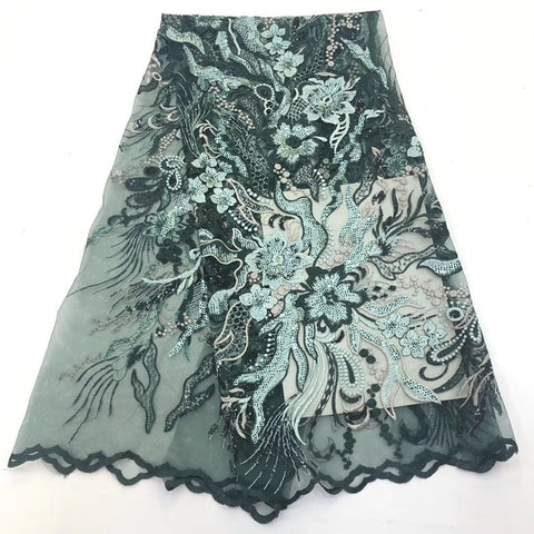 Image of 2019 African Lace Fabric New Nigeria Lace design embroidery with High Quality sequins Fabric Used for women wedding dresses