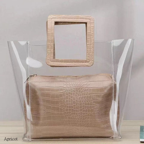 Image of 2019 Clear Transparent PVC Shoulder Bags Women Candy Color Women Jelly Bags Purse Solid Color Handbags sac a main femme handbag