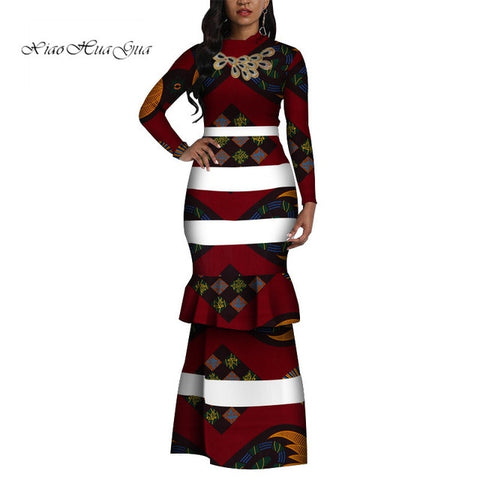 Image of 2019 Fashion African Print Long Mermaid Dress for Women Bazin Rich Patchwork Long Sleeve Dresses African Design Clothing WY4410