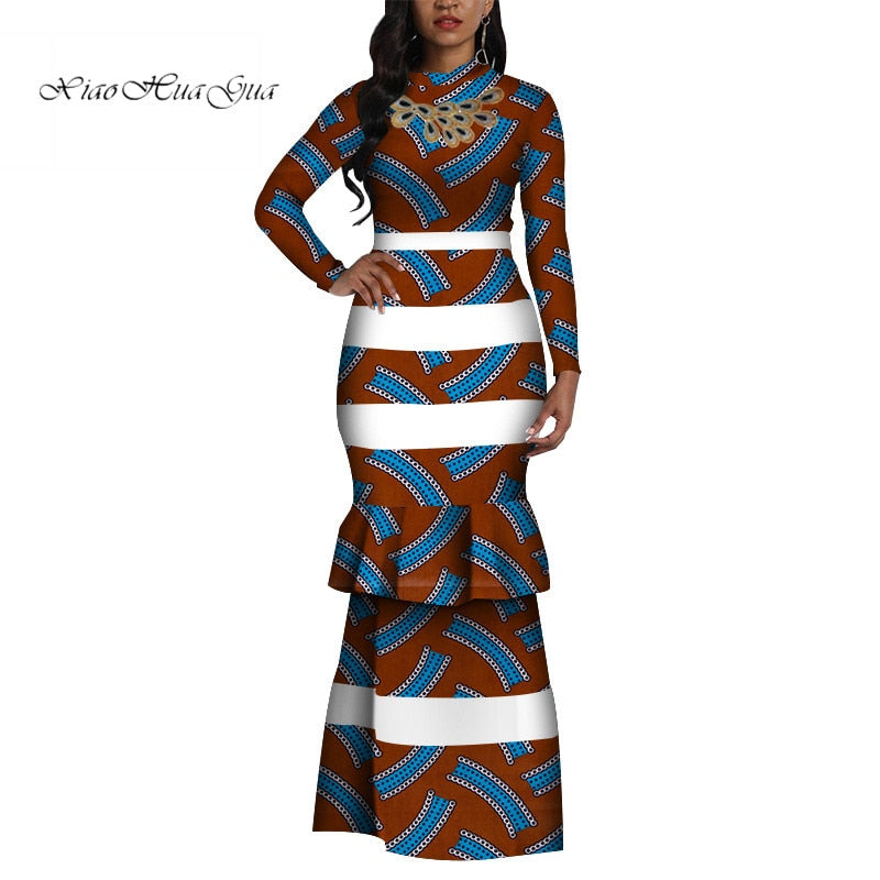 2019 Fashion African Print Long Mermaid Dress for Women Bazin Rich Patchwork Long Sleeve Dresses African Design Clothing WY4410