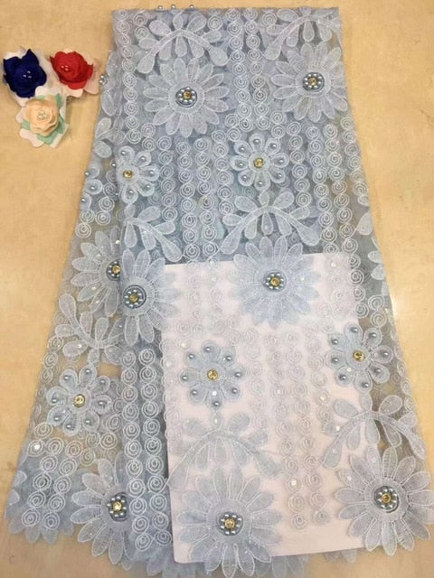 2019 French Embroidery Mesh TulLe Lace Fabric 3D Applique African Beaded Lace Fabrics Wholesale For Wedding Party RF327
