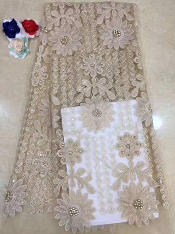 Image of 2019 French Embroidery Mesh TulLe Lace Fabric 3D Applique African Beaded Lace Fabrics Wholesale For Wedding Party RF327