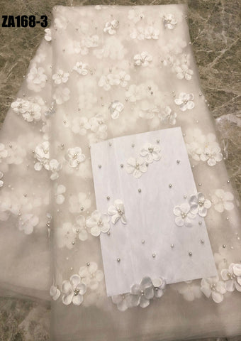 Image of 2019 French Lace Fabric White Wedding High Quality African Tulle Lace Fabric 5Yard 3D Flowers Embroidered Tulle Lace fabric A168