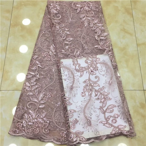 2019 High Quality African Lace Fabric sequins  Lace French Tulle Lace Fabric For Nigerian Wedding dress     XZXJUN182