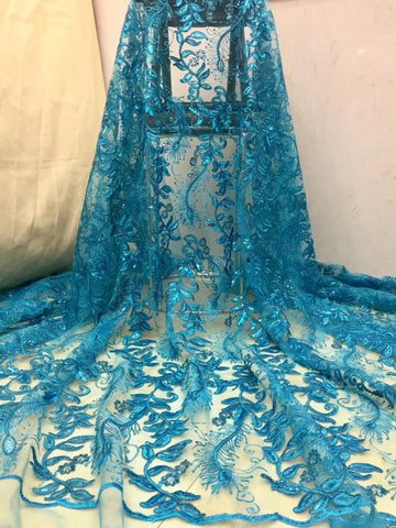 Image of 2019 High Quality African Lace Fabric sequins  Lace French Tulle Lace Fabric For Nigerian Wedding dress     XZXJUN182