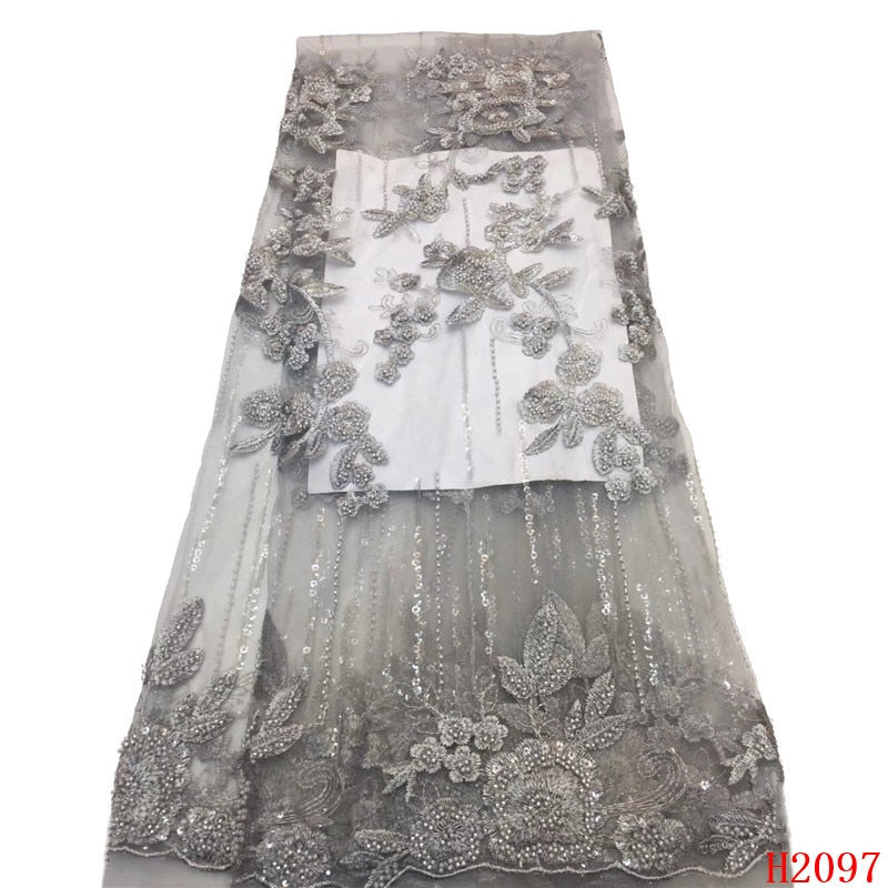 2019 High Quality French 3D Tulle Beaded African Lace Fabric Sequins Embroidered Nigerian Lace Fabrics For Wowen Dress HJ2097-1