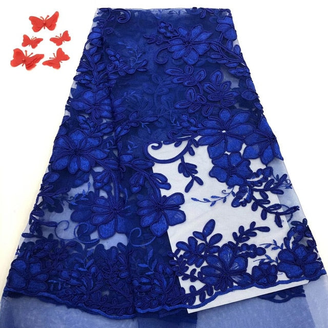 2019 High Quality Laces In Royal Blue White African Mesh French Tulle Lace With Sequins Ribbons And Trims For Sewing
