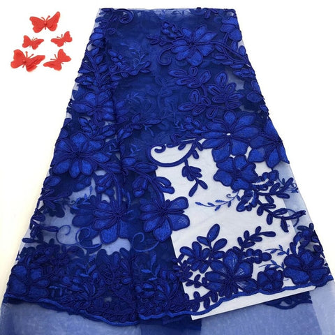 Image of 2019 High Quality Laces In Royal Blue White African Mesh French Tulle Lace With Sequins Ribbons And Trims For Sewing