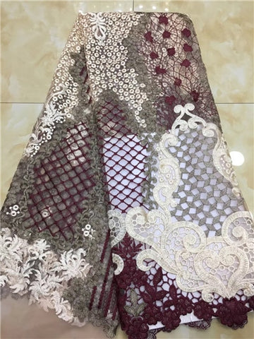 Image of 2019 High Quality Nigerian Lace Fabrics African French Net Lace Fabric Embroidered Tulle Mesh Lace Fabric